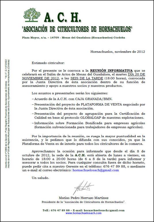 """Carta a los Socios de la """"A.C.H."""" - Noviembre 2012 - Haz """"clic"""" en la imagen para ampliar."""