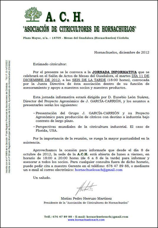 """Carta a los Socios de la """"A.C.H."""" - Diciembre 2012 - Haz """"clic"""" en la imagen para ampliar."""
