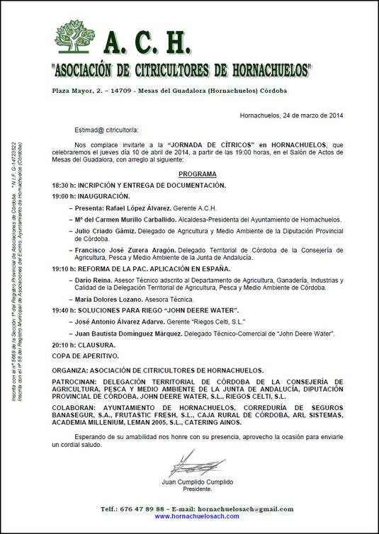 """Carta a los Socios de la """"A.C.H."""" - Marzo 2014 - Haz """"clic"""" en la imagen para ampliar."""