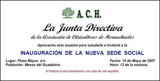 """Invitación INAUGURACIÓN DE LA NUEVA SEDE SOCIAL DE LA """"A.C.H."""" - Haz """"clic"""" en la imagen para ampliar."""