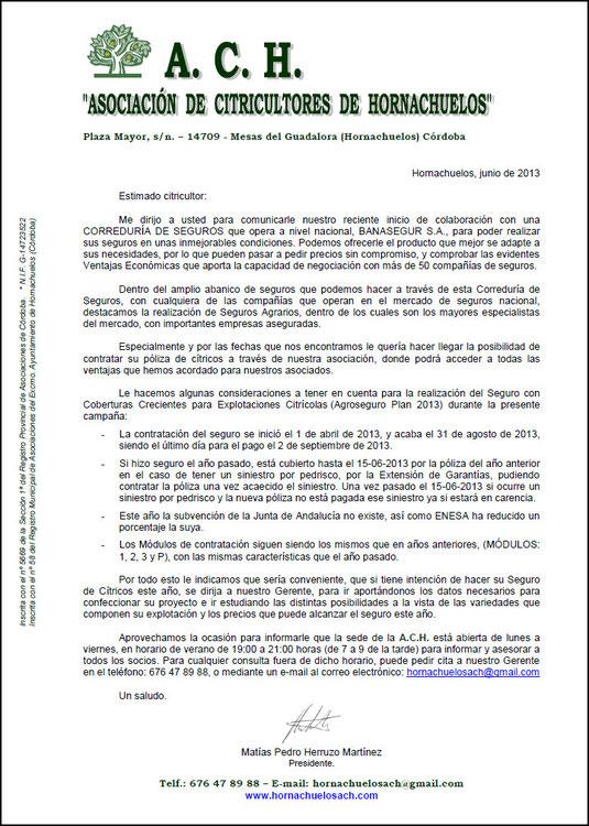 """Carta a los Socios de la """"A.C.H."""" - Junio 2013 - Haz """"clic"""" en la imagen para ampliar."""