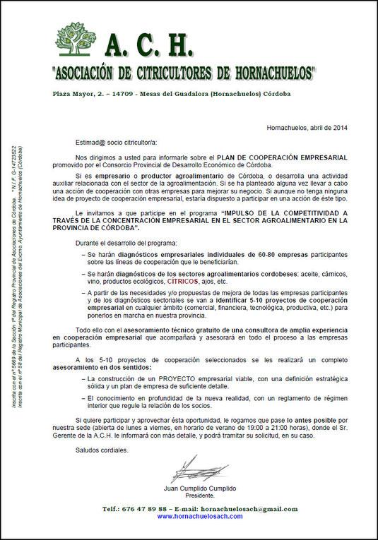 """Carta a los Socios de la """"A.C.H."""" - Abril 2014 - Haz """"clic"""" en la imagen para ampliar."""