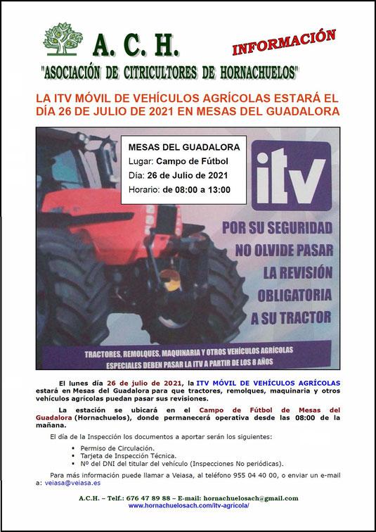 """La ITV Móvil de Vehículos Agrícolas estará el día 26 de Julio de 2021 en Mesas del Guadalora. - Haz """"clic"""" en la imagen para ampliar."""