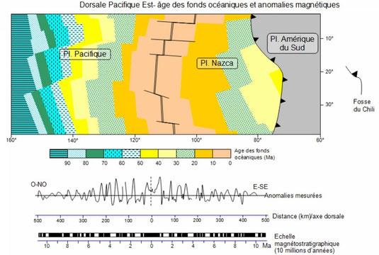 Age des roches volcaniques constituant le plancher océanique. Sources: Banque de schéma SVT. Cliquer sur l'image pour l'agrandir.