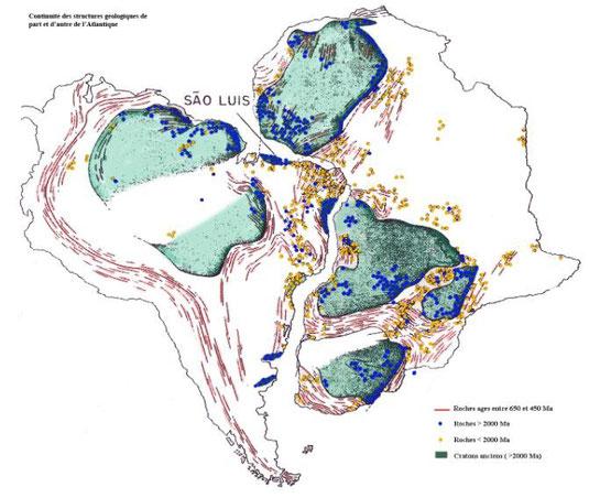 L'Amérique du Sud et l'Afrique collées d'après la théorie de Wegener. On observe que les masses rocheuses (cratons) de couleur verte, correspondent.