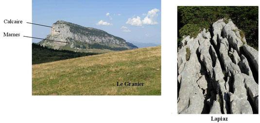 Un paysage des Alpes (gauche) et un détail des roches composant le massif montageux (droite).