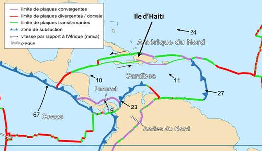 Les frontières actives au niveau de la plaque Caraibe.