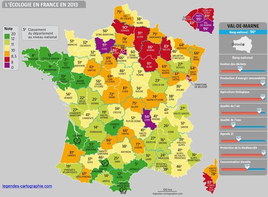 Carte de France des département les plus écologiques. Vert: très écologique. Rouge: pas écologiques. Le nombre sur le département correspond à son classement. Cliquez sur la carte pour l'agrandir.