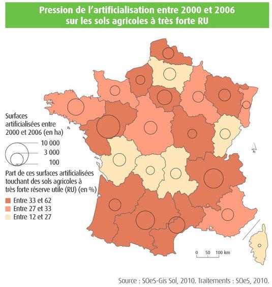 Pression de l'artificialisation des sols entre 2000 et 2006.