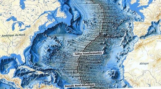 Carte du fond océanique (Atlantique) et détails des failles transformantes.