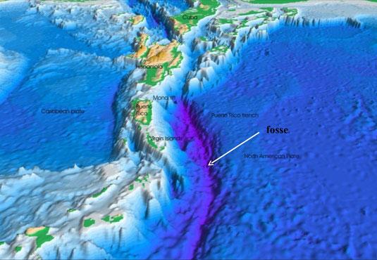 Représentation 3D du plancher océanique au niveau des Petites Antilles.