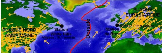 Carte représentant les mouvements relatifs des 2 plaques (Eurasiatique et Amérique du Nord) l'une par rapport à l'autre. Source: logiciel tectoglob, modifié.