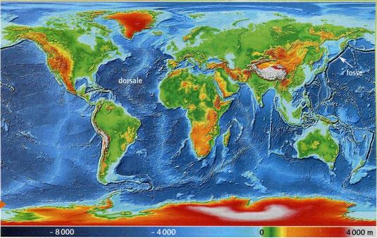 Carte des reliefs terrestres. Sources: BELIN, SVT, 2008.