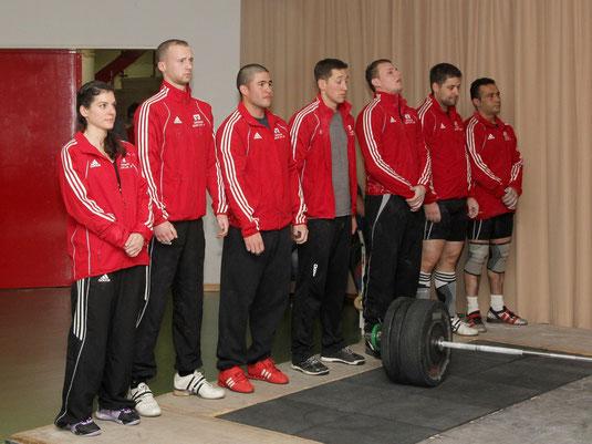 Die ASC-Mannschaft am 14.12.2013. von links: M.Manuel-T.Smith-C.Albaladejo-M. Marrone-L.Eckert-M.Kudelka-M.Bozkurt