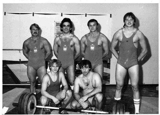 v.l. P.Wenda,j.Sager, A. Lagardere,H. Domogala, P und T. Krinke-1983,