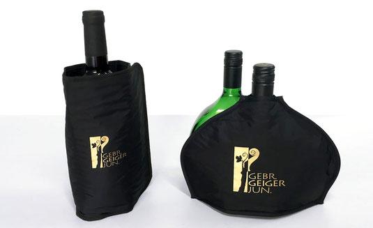 Bedruckte Bocksbeutel- und Literflaschen-Kühlmanschetten