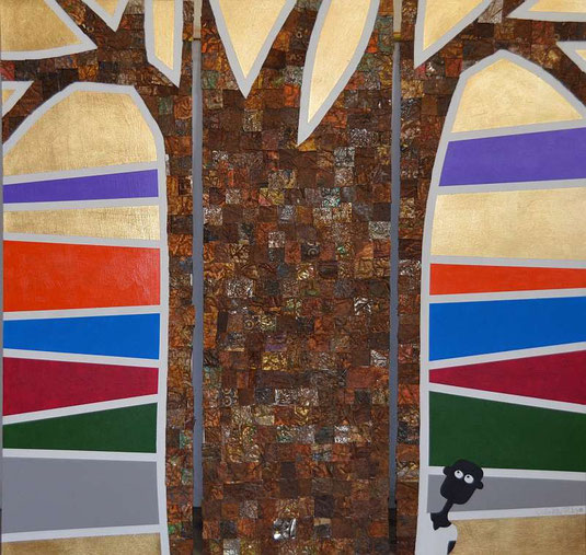 NALA and Mr. Baobab, (83 x 80 cm) rusted cans, gold dutch metal, acrylic on hardboard, by André Pilz