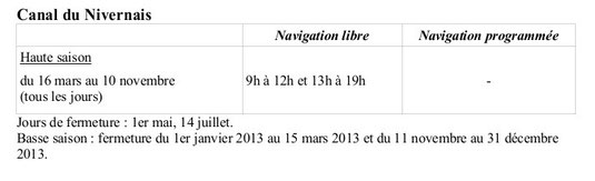 Horaires 2014