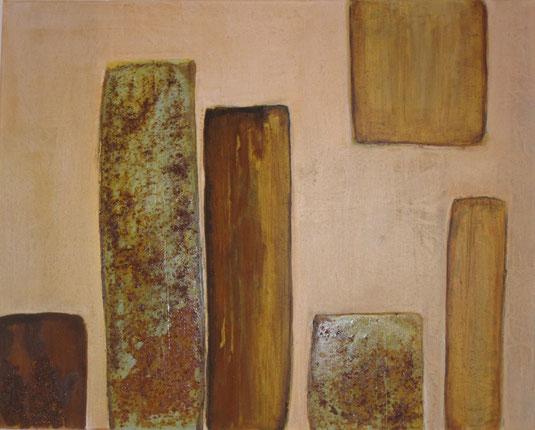 Nr. 2010-HO-025: 120 x 80 cm, Modeliermasse, Rosteffekt, Acryl auf Leinwand