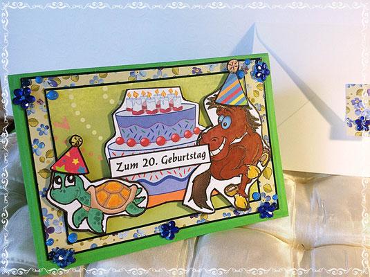 Geburtstagskarte für eine junge Frau, die einen Pferd und eine Schildkröte besitzt.