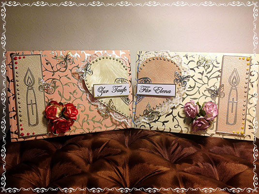 Taufkarte im Doppelpack ( wird gleichzeitig verschenkt von Großeltern und Tante). Zusammen gestellt, ergeben die Karten ein Herz <3