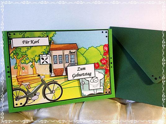 Geburtstagskarte für einen Mann, der gerne mit seinem E- Fahrrad fährt, Pärke liebt und gerne Essen geht.