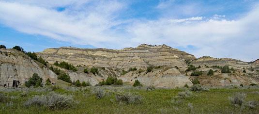 Theodore Roosevelt National Park, North Unit, Scenic Drive zwischen Visitor Center und Slump Block Pullout