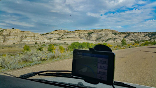 Theodore Roosevelt National Park, North Unit, Scenic Drive, zwischen River Bend Overlook und Cannonball Concretions