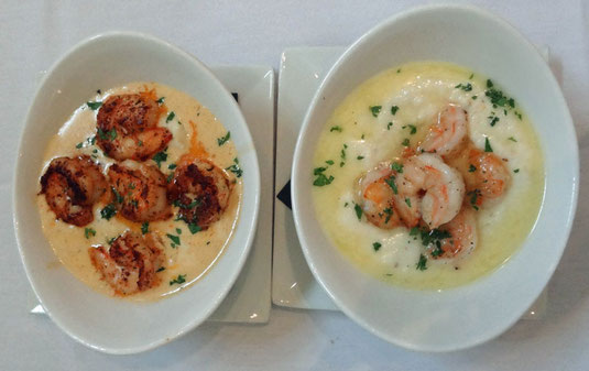 Kitchen on George, Mobile, Alabama - Blackened Shrimps and Grits und Shrimps and Goat Cheese Grits