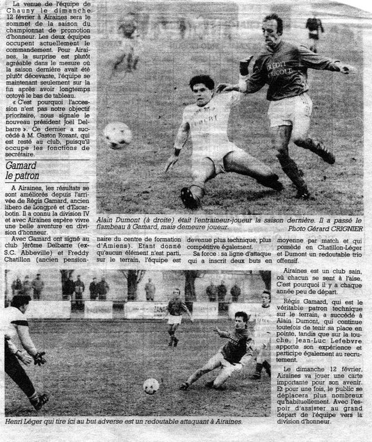 Article du Courrier Picard - Pages sports - Février 1989
