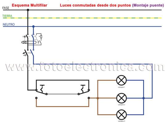 10 Montaje.- Luces conmutadas desde dos puntos (Montaje puente)