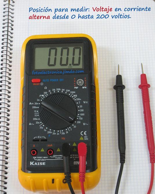 Escala de 200 voltios alterna