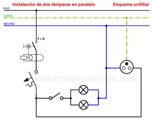 circuito de dos láparas en paralelo
