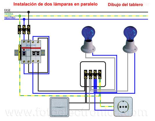 Montaje de dos lámparas en paralelo