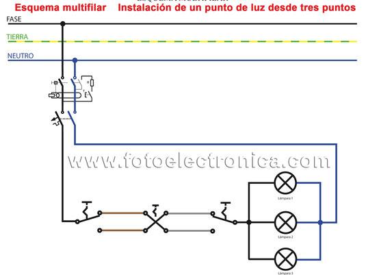 12.-Instalación de un punto de luz desde 3 puntos