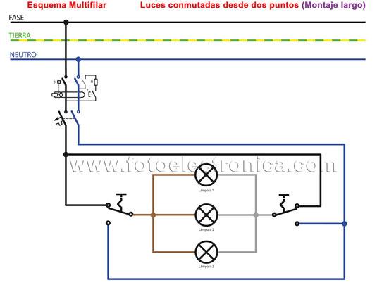 11. Luces conmutadas desde dos puntos (Montaje largo)