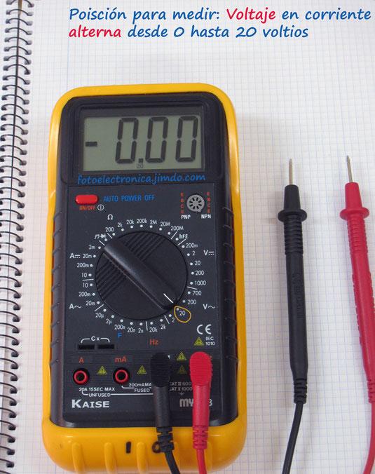Escala de 20 voltios en alterna
