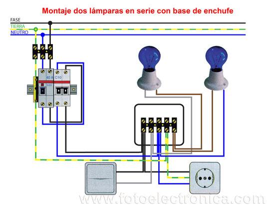 Dos lámparas en serie y base de enchufe