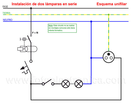 Instalación de dos lámparas en serie