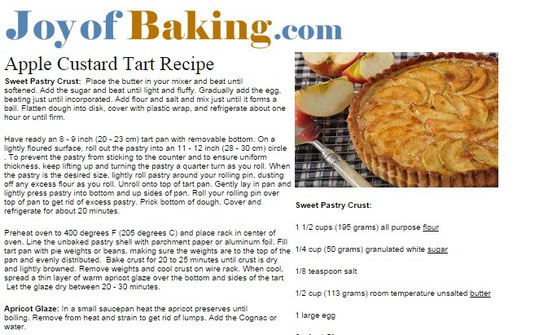 joyofbaking.com Apple Custard Tart