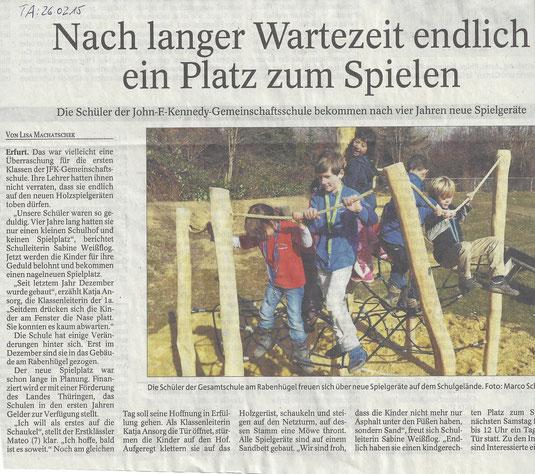 Eröffnung Spielplatz (Thüringer Allgemeine 26.02.2015)