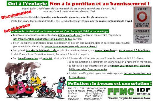 FFMC Ile-de-France : Oui à l'écologie, non au bannissement des 2RM et 3RM