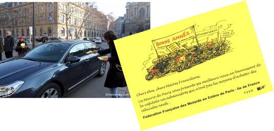 Jeudi 26 janvier 2017 : les militants de la FFMC PPC remettent aux élus franciliens un tract dénonçant les modalités de la ZCR à Paris