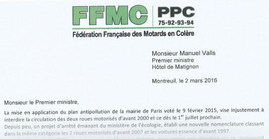 Lettre de la FFMC PPC à Manuel Valls, Premier ministre