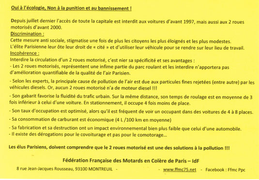 Voeux 2017 de la FFMC PPC aux maires d'Ile de France : oui à l'écologie, non à la punition et au bannissement