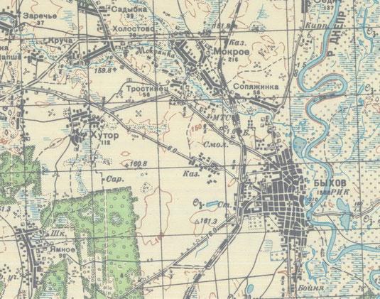 Карта Быхова 1930-40 г.г.