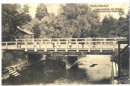 Die Brücke zwischen Oldendorf und Markoldendorf um 1920