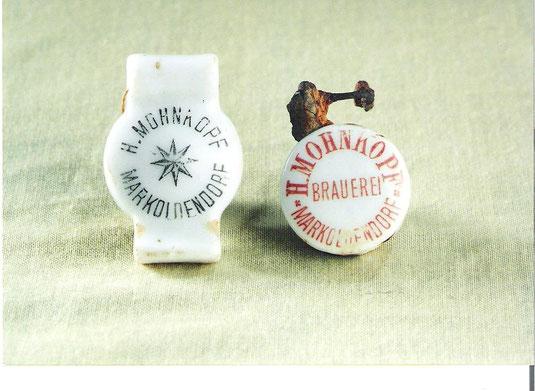 Flaschenverschlüsse der Brauerei Mohnkopf