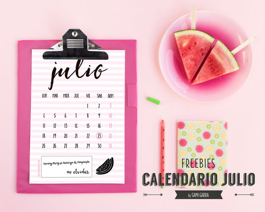 Freebies de calendario: JULIO by Sami Garra