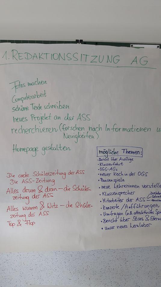 Brainstorming der 1. Redaktionssitzung